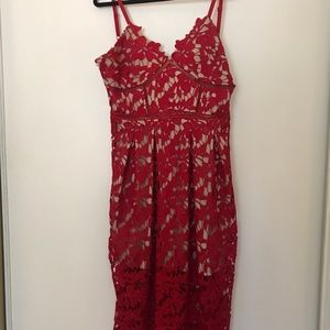 Nordstrom Red Lace Midi Dress